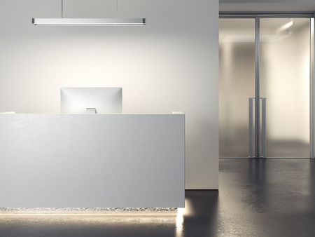 Modern office reception. 3d rendering