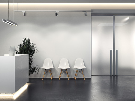 Clean interior with reception and row of chairs. 3d rendering