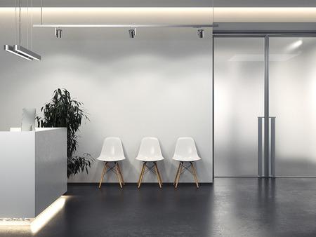 Schoon interieur met receptie en stoelenrij. 3D-weergave