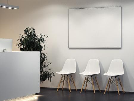 Schoon licht interieur met receptie en rij stoelen. 3D-weergave Stockfoto