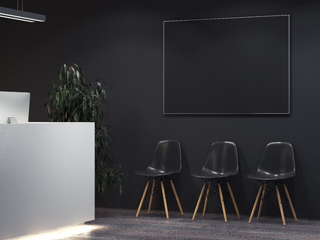 フロントと椅子の列できれいな暗いインテリア。3D レンダリング 写真素材