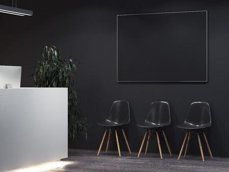 Schoon donker interieur met receptie en rij stoelen. 3D-weergave