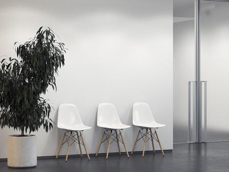 Schoon licht interieur met rij stoelen. 3D-weergave Stockfoto - 93958988