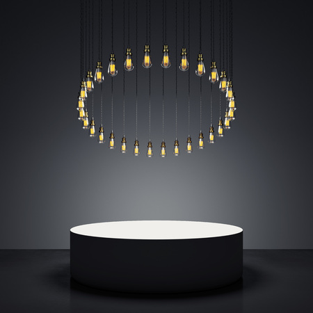Modern showcase with bulbs. 3d rendering