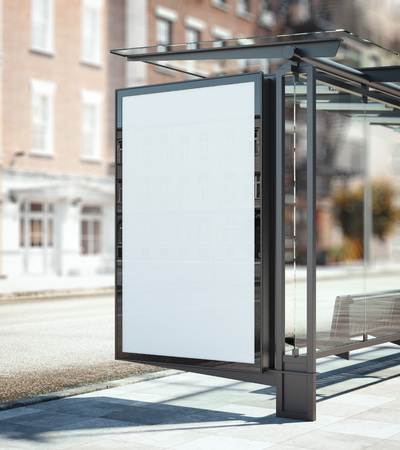 Bus stop with blank ad banner. 3d rendering Stock Photo