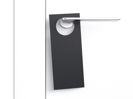 Black door hanger tag. 3d rendering