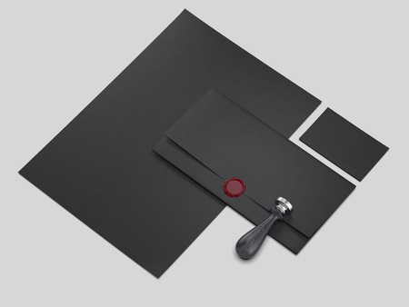 Dark business mockup with seal wax and stamp. 3d rendering