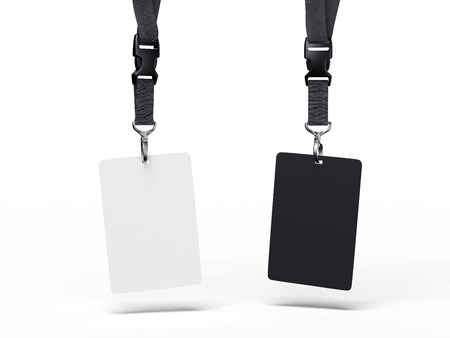 Black and white badges. 3d rendering Banque d'images