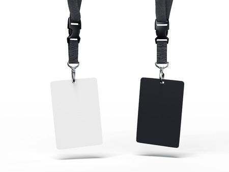 Black and white badges. 3d rendering Foto de archivo