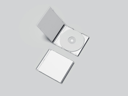 Opened and closed white disk packages. 3d rendering