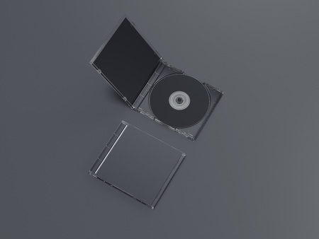 Opened and closed black disk packages. 3d rendering Stok Fotoğraf
