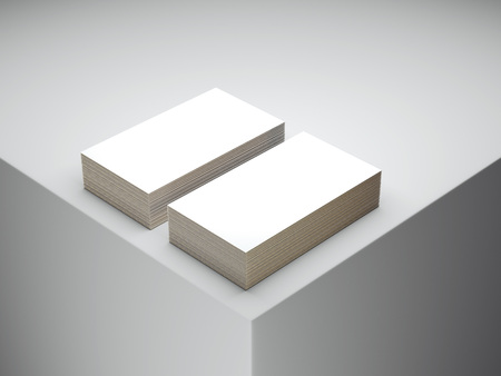 Two stacks of white business cards. 3d rendering