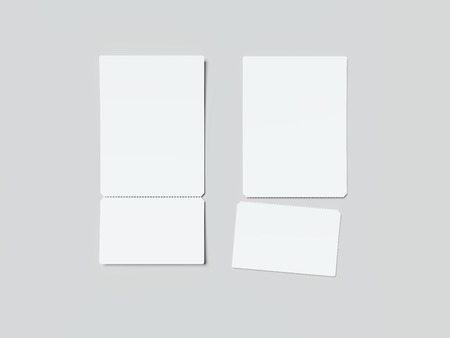 Two white tear-off tickets. 3d rendering