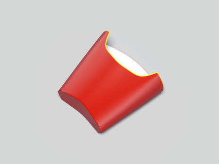 Red packing for french fries. 3d rendering
