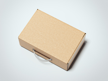 Brown box package with transparent handle. 3d rendering Stock Photo