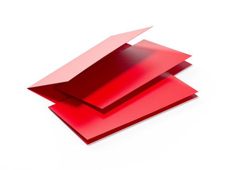 Red paper menus. 3d rendering