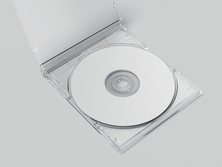 Disque blanc avec emballage transparent ouvert. Rendu 3D Banque d'images - 96677399