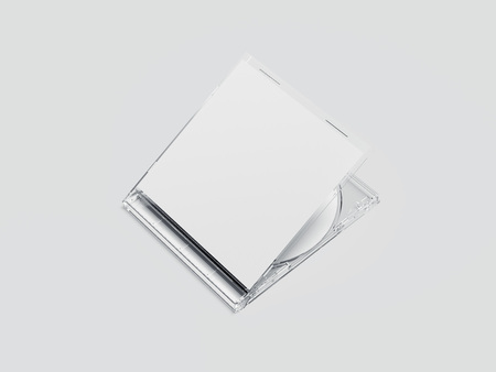 White disk with transparent package and blank label. 3d rendering
