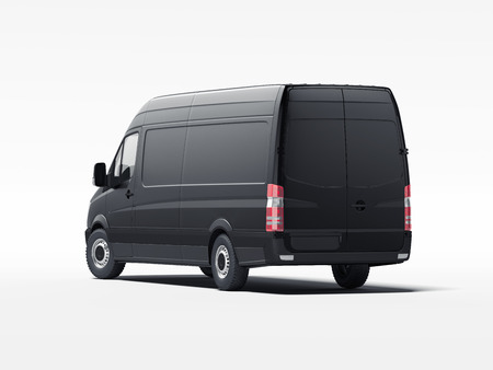Black truck with blank walls. 3d rendering