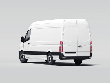 Witte vrachtwagen met blinde muren. 3D-weergave