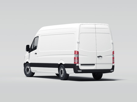 White truck with blank walls. 3d rendering
