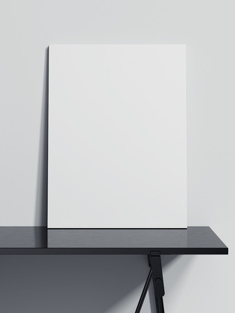 Blank canvas on the black table. 3d rendering