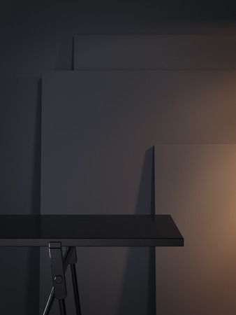 Black empty table and three dark picture frame. 3d rendering 스톡 콘텐츠