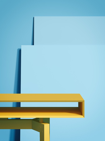 Yellow empty table and two blue picture frames. 3d rendering