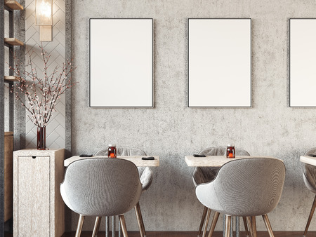 Modern cozy restaurant interior with blank picture frames. 3d rendering