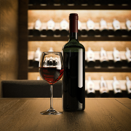 Wine bottle with glass on the wooden table. 3d rendering