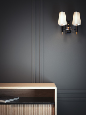 Dark classic interior with lamp and cabinet. 3d rendering