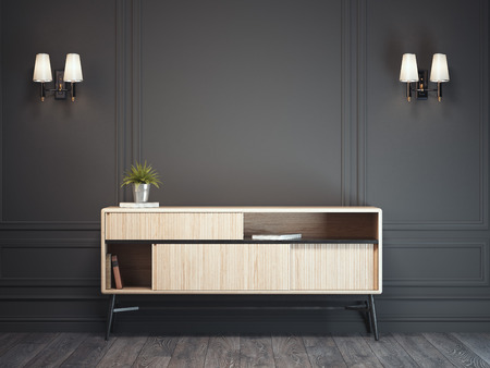 Dark classic interior with wooden cabinet. 3d rendering Stok Fotoğraf