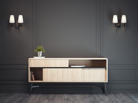 Dunkles klassisches Interieur mit hölzernem Schrank . 3D-Rendering Standard-Bild - 98690608