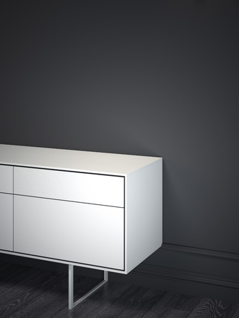 White cabinet in dark interior. 3d rendering Stock Photo