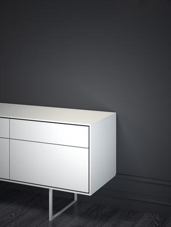 White cabinet in dark interior. 3d rendering Reklamní fotografie