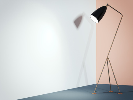 Black lamp in interior with white wall. 3d rendering