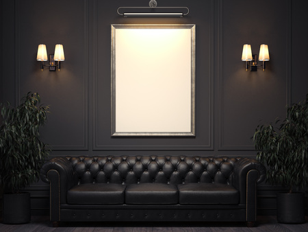 Dark classic interior with sofa and picture frame on wall. 3d rendering Archivio Fotografico