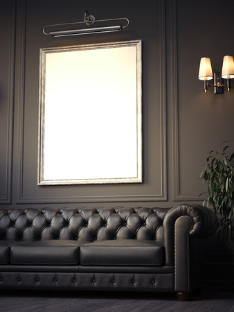 Dark cozy classic interior with sofa and blank picture frame . 3d rendering Foto de archivo