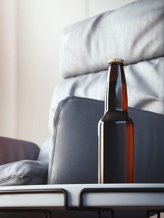 Brown beer bottle on coffee table in cozy interior. 3d rendering