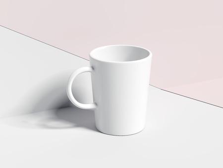 Blank white tea cup. 3d rendering Banco de Imagens