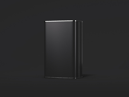 Blank black tin can. 3d rendering