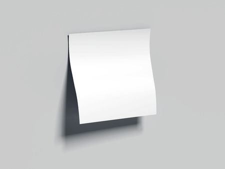 White blank sticky note. 3d rendering