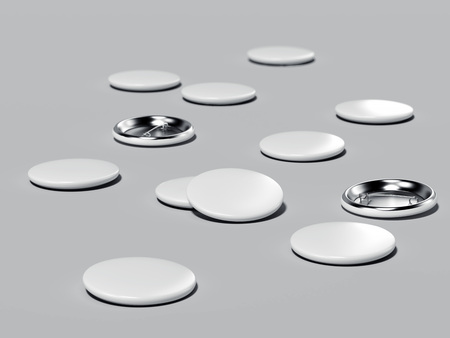 Button badges. 3d rendering Stock Photo