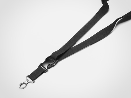 Black lanyard with metal. 3d rendering