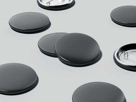 Black button badges. 3d rendering Stock Photo