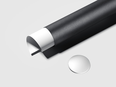 Black tube with white twisted paper sheet. 3d rendering