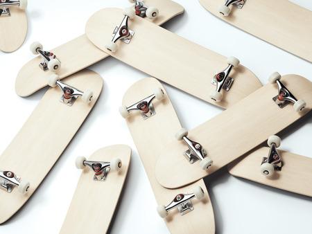 Bunch of blank wooden skateboards. 3d rendering Stok Fotoğraf