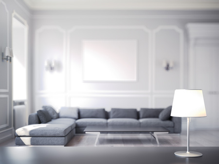 Modern cozy room with table and lamp on foregound and on focus, 3d rendering