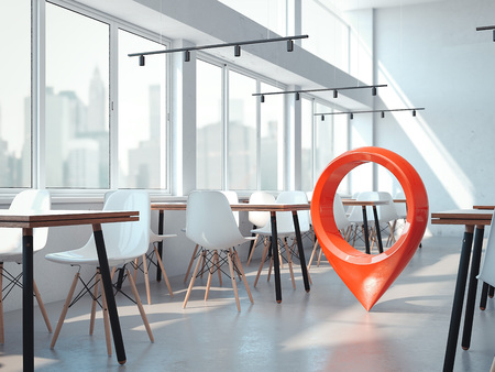 Modern office cafe with white chairs and red geotag or map pin. 3d rendering