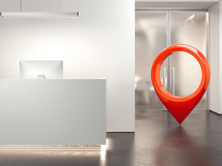Modern clean office reception with computer. 3d rendering Imagens